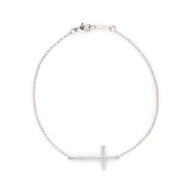 Swoonery-White Gold Cross Bracelet
