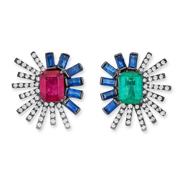 Swoonery-Duo Mini earrings - Ruby/Emerald