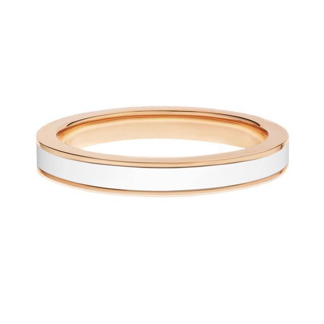 Swoonery-Rose gold white enamel stack band
