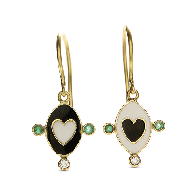 Swoonery-Holly Dyment Go Lightly Enamel Black And White Heart Drop Earrings