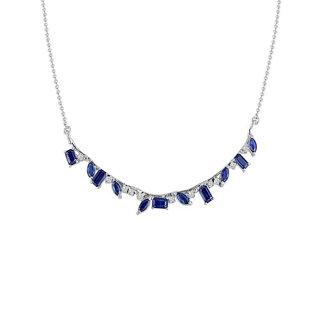 Swoonery-Blue Sapphire Curved Stone and Diamond Bar Necklace
