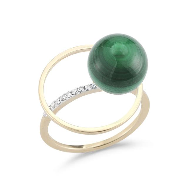 Swoonery-Malachite Orbit Ring with Diamonds
