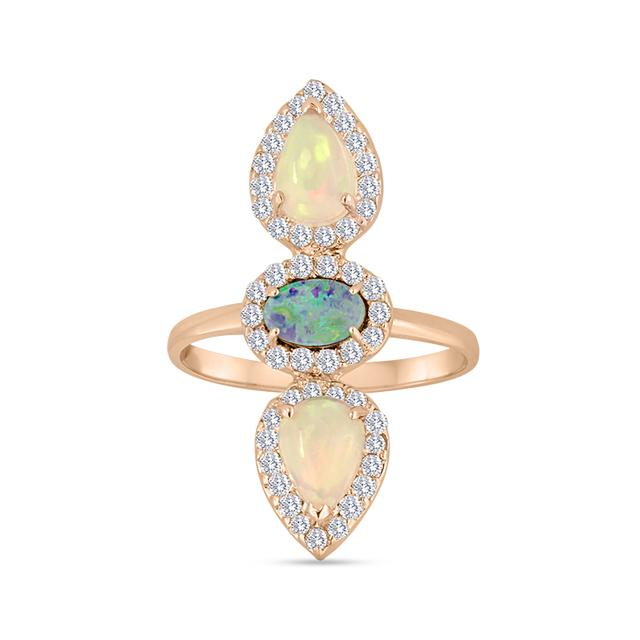 Swoonery-Opal Diamond Ring
