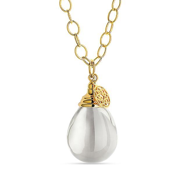 Swoonery-Rock Crystal Mogul Drop Necklace