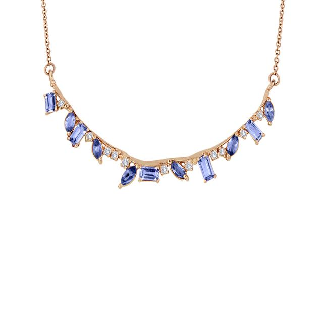 Swoonery-Tanzanite Curved Stone and Diamond Bar Necklace