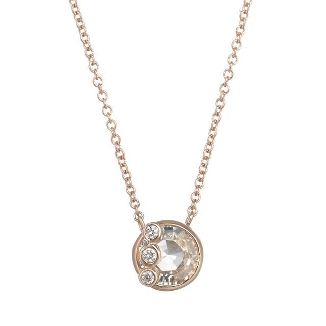 Swoonery-THROWING STONES SAPPHIRE AND DIAMOND ROUND PENDANT