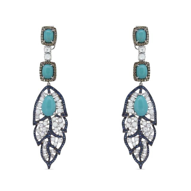 Swoonery-Birds Of A Feather Turquoise Earrings