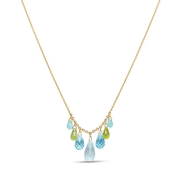 Swoonery-One-of-a-Kind Topaz+ Apatite Briolette Necklace
