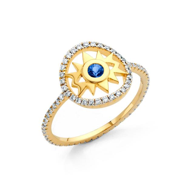 Swoonery-20K Evil Eye Diamond Ring