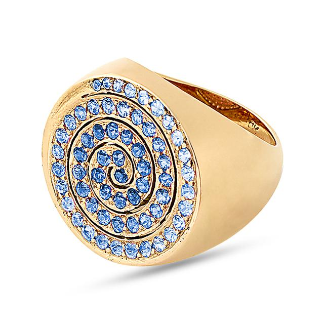 Swoonery-Large Blue Spiral Cocktail Ring
