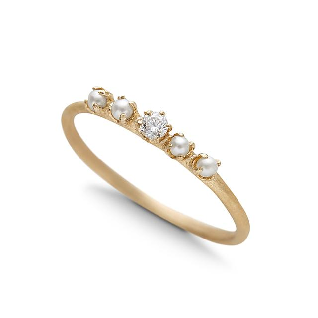 Swoonery-Pearl And Diamond Ring