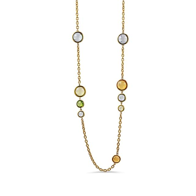 Swoonery-Mischief Collection Disc Oval Necklace With Quartz, Citrine & Prasiolite