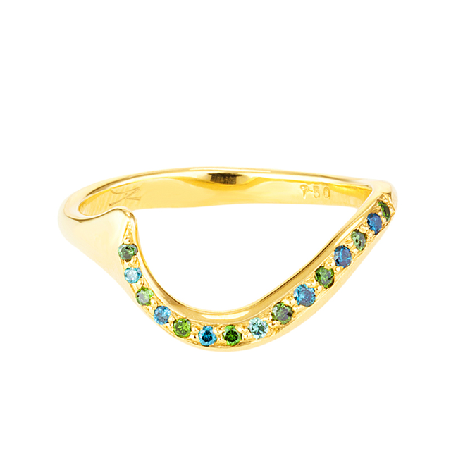 Swoonery-Blue & Green Diamond Serpentine Sleeps Ring