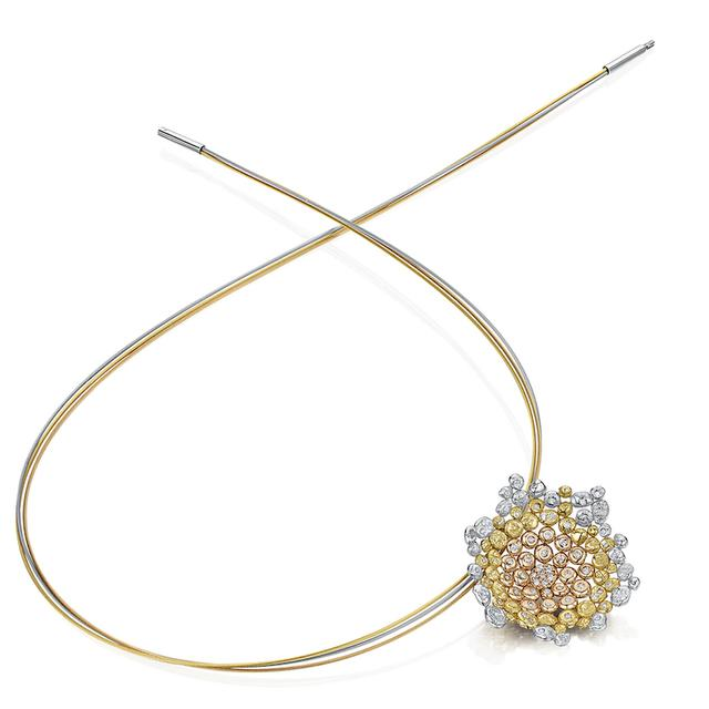 Swoonery-COALESCENCE DIAMOND TRI GOLD NECKLET