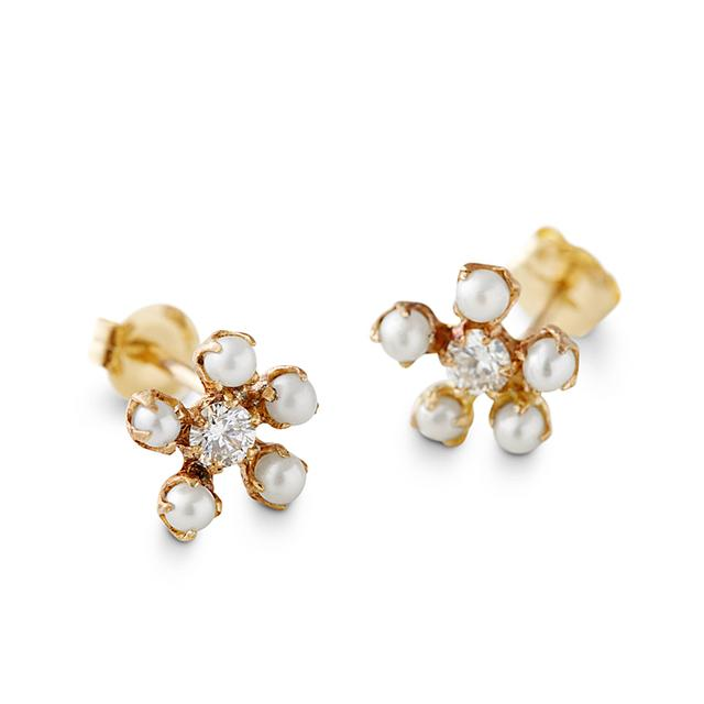 Swoonery-Pearl And Diamond Earrings
