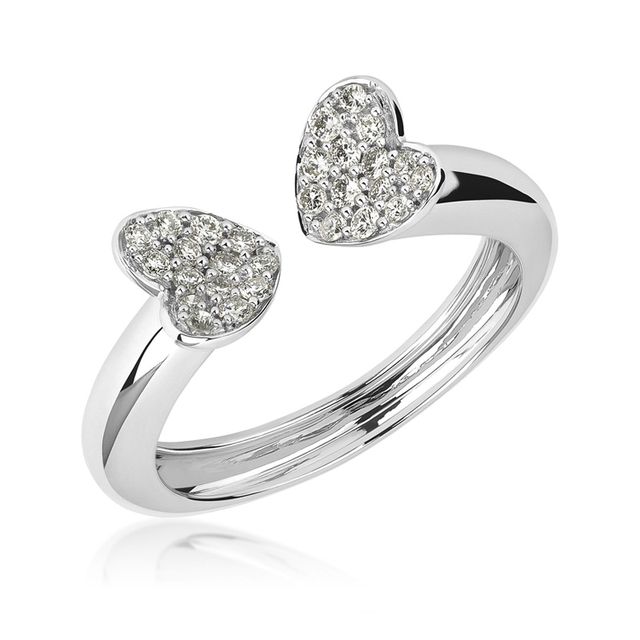 Swoonery-Small White Gold Heart Ring