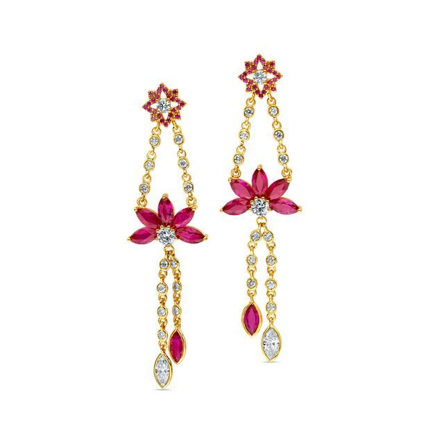 Swoonery-20K Marquise Lotus Drop Earrings