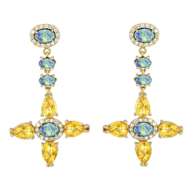Swoonery-Citrine Boulder Opal Diamond Earrings