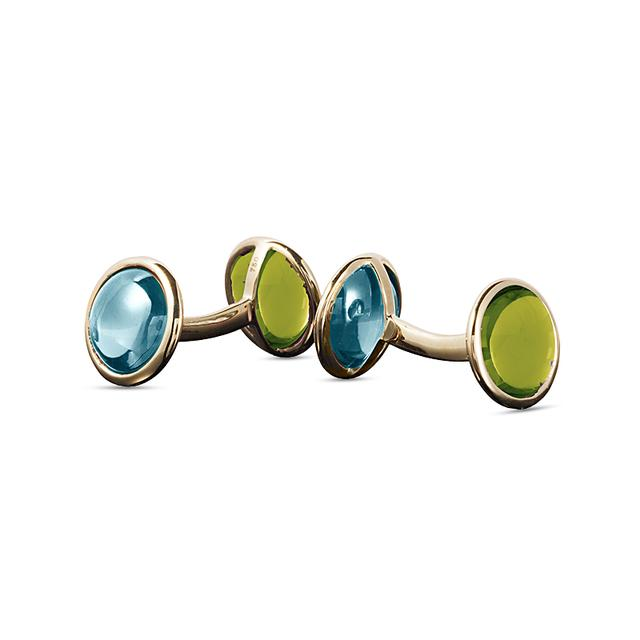 Swoonery-Mischief Collection Disc Cufflinks With Peridot & Topaz