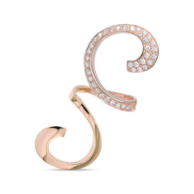 Swoonery-Rose Gold Partial Diamond Middle Finger Curls Ring