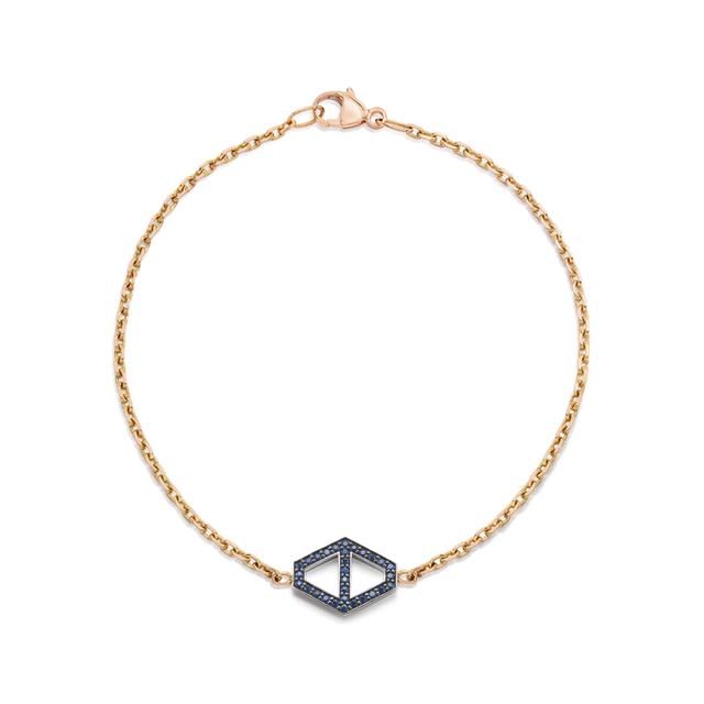Swoonery-Keynes 18K Medium Signature Sapphire Hexagon Bracelet