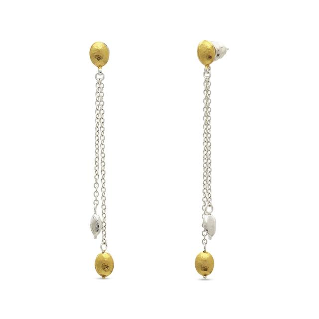 Swoonery-Two-Strand Graduated Sterling Silver Earrings