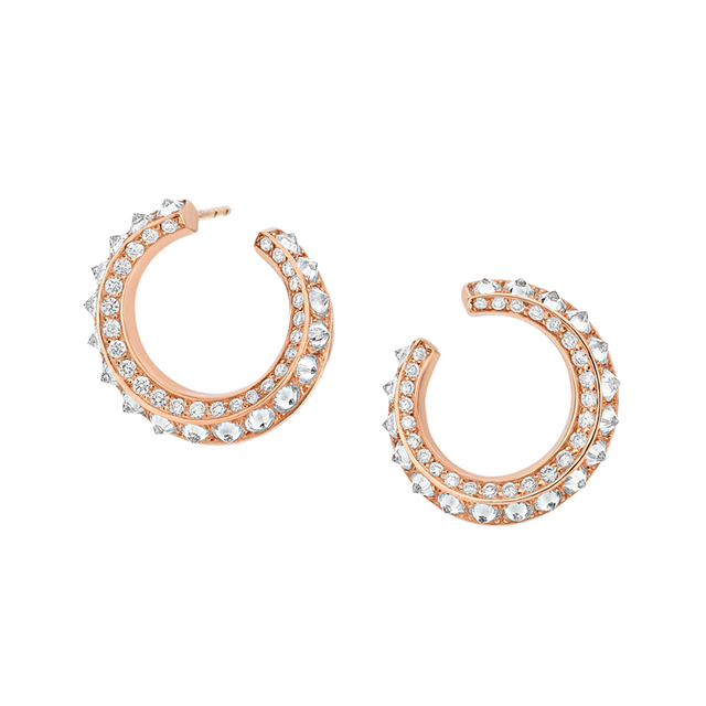 Swoonery-Sumerian Spike Diamond Twist Hoops