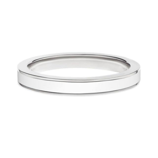 Swoonery-White gold white enamel stack band
