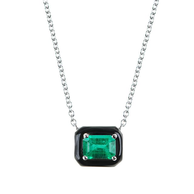 Nikos Koulis 18k Oui Double Diamond & Black Enamel Necklace mM18xtoaG