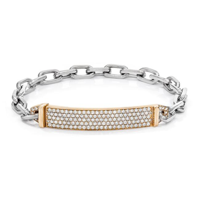 Swoonery-Carrington Chain Link Diamond ID Bracelet