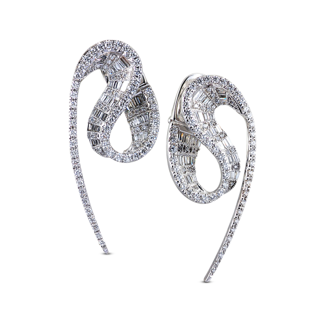 Swoonery-White Gold Wave Earrings
