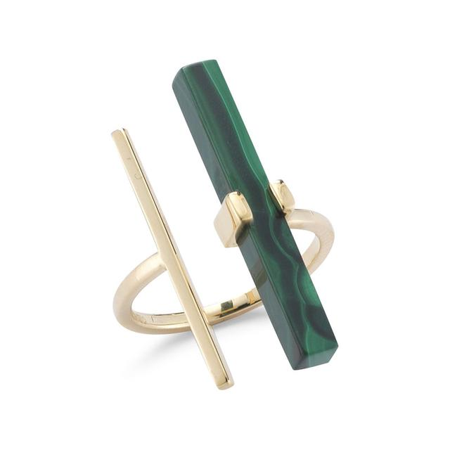 Swoonery-Malachite Parrell Bar Ring