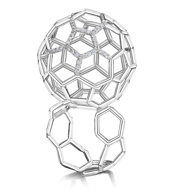 Swoonery-Air Sphere Diamond White Gold Ring