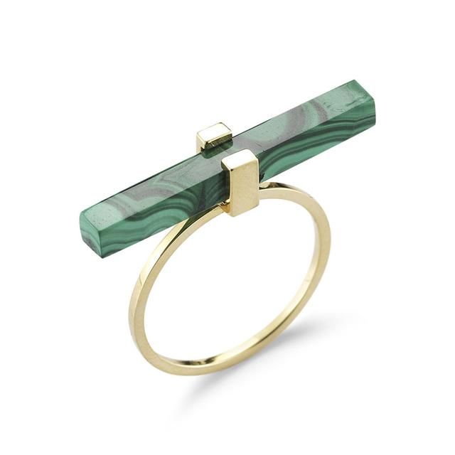 Swoonery-Malachite Cross Bar Ring