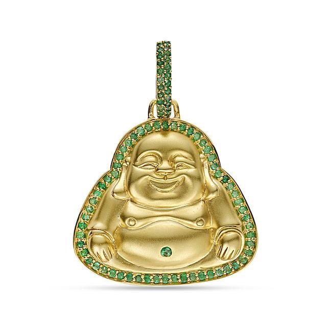 20k emerald happy buddha pendant swoonery shop designer fine 20k emerald happy buddha pendant buddha mama mozeypictures Images