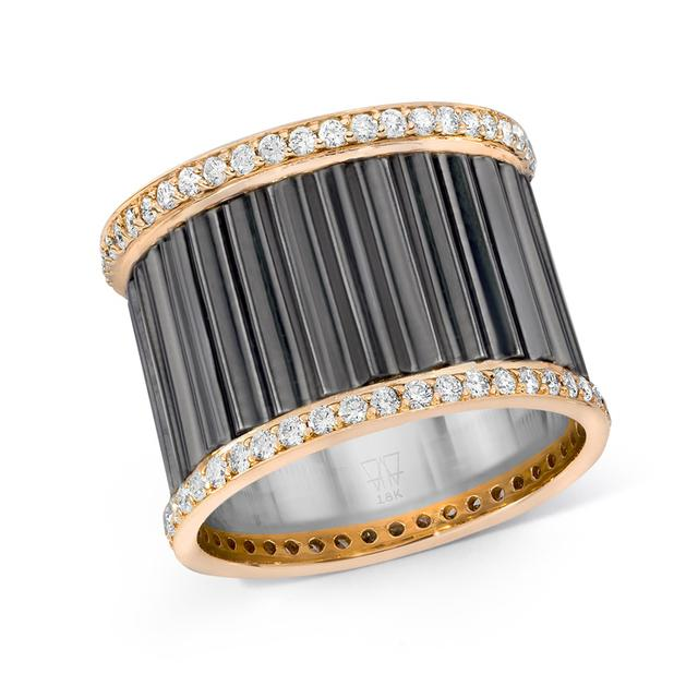 Swoonery-Clive Fluted Diamond Band Ring