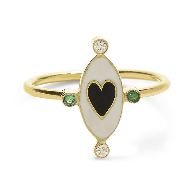 Swoonery-Holly Dyment Go Lightly White Enamel And Black Heart Ring