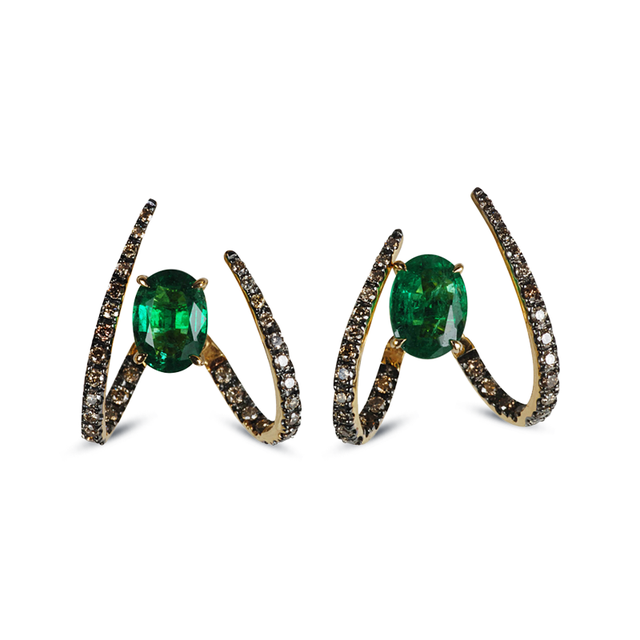 Swoonery-Le Phoenix Single Claw Emerald Earrings