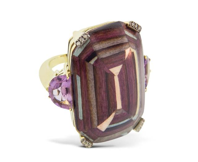 Swoonery-Marquetry Purple Geometric Square Ring
