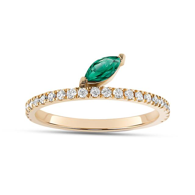 Swoonery-Emerald Marquise Defne Pave Ring