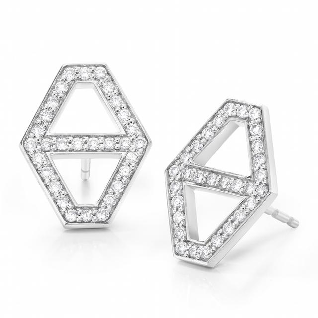 Swoonery-Keynes Medium  Diamond Hexagon Stud Earring
