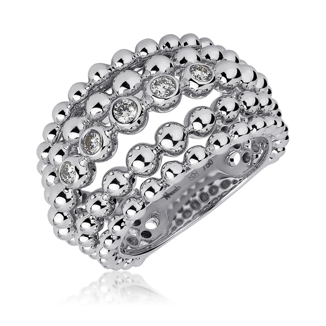 Swoonery-Big White Gold Bubbles Ring