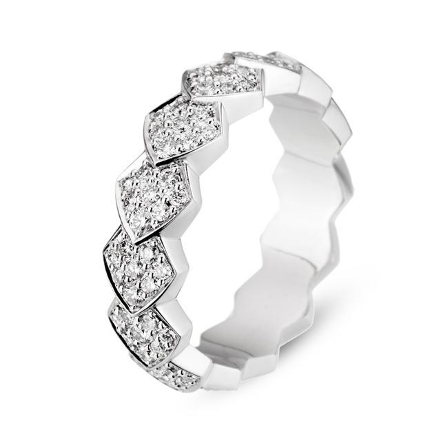 Swoonery-White Gold White Diamond Python Ring