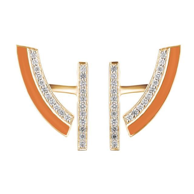 Swoonery-Demi-lune orange earrings