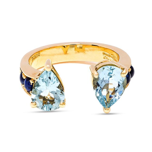 Swoonery-Aquamarine Theodora Double Tear Ring
