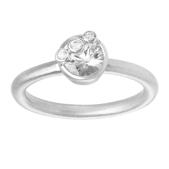 Swoonery-THROWING STONES WHITE SAPPHIRE AND DIAMONDS RING