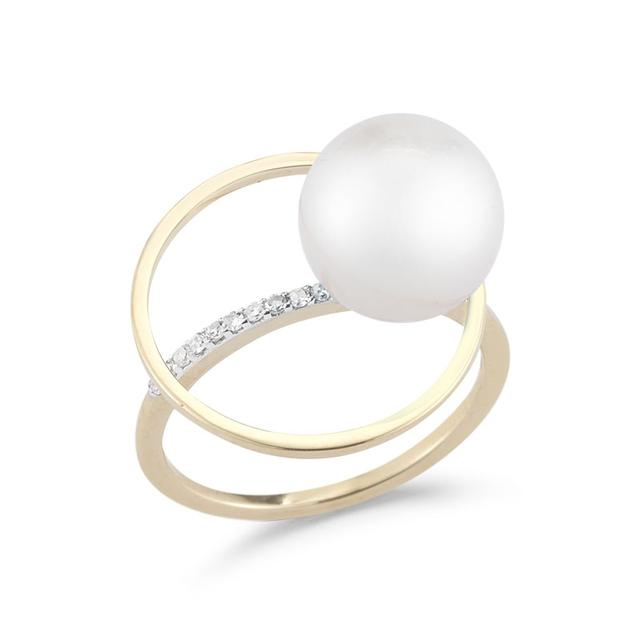 Swoonery-Pearl Orbit Ring with Diamonds