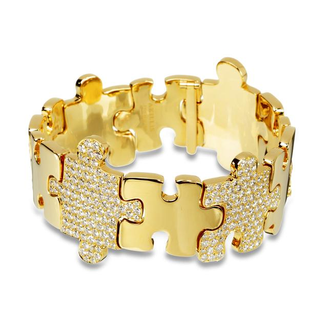 Swoonery-Yellow Gold High Jewelry Puzzle Bracelet