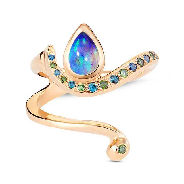 Swoonery-Blue Opal Serpentine Sleeps Wrap Ring