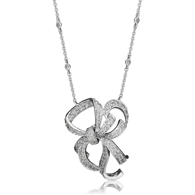 Swoonery-White Gold Lovely Bow Necklace